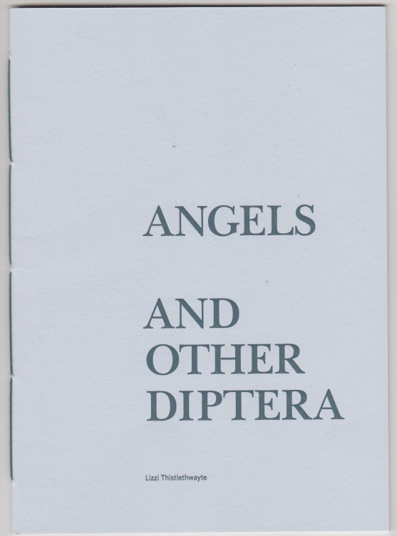 Cover of pamphlet. Dead plain, and pale blue, with title in block caps, very large, occupying about a third of the space towards the right hand side of the lower two thirds. The word ANGELS is separated by a double spaced interval from the rest of the title.