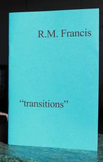 Pamphlet cover. Dead simple. Aquamarine blue. Author's name, justified right and in lower case, top right. Poem title (inside double speech marks) bottom left, justified left and lower case. All titles in this series are presented with an identical cover design.