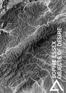 Cover of Sophie Essex pamphlet, black, white, grey. Looks like a landscape depicted from high up, mountains and rippling rivers. The author's name and book title are on the right hand side written horizontally like a bookspine.