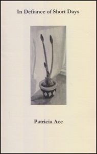 The jacket is cream, a slightly textured card. The title and the author's name are both centred in black lower case font, title at the top, author's name in the bottom third. Between these pieces of print is a vertical oblong containing a water-color painting of an amaryllis starting to sprout from a bulb in a small pot on a shelf. There are three stalks, three buds, but still tight shut.