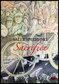 The cover is filled with a painting in muted colours of a whole set of people, in what look like working hats and caps. The front ones are sitting in a cart with alrge wheels. Behind them are more people perhaps assembled to watch the cartloads of people go past. At the foot of the page, where the road would be, another image is imposed of people marching at night. The author's name is centred in small black caps in the centre of the jacket. Below it, in large caligraphic font, is the title in red.