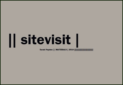 The publication is a large grey rectangle. The title is in huge lowercase lettering, left justified and placed in the middle. Before the title are two short vertical lines, and a single of the same lines after it. Below this, in tiny black print and commencing under the e of 'sitevisit' is the author's name, in regular font, then two vertical uprights, then the publisher name, then a single vertical, then the date, then a long string of vertical lines (all of this very small indeed). No other imagery or marking on the jacket.
