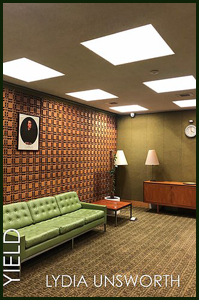The jacket is a full colour photograph, and at first that's how you see it -- as a photo, not a jacket. It shows a 1970s type room, or one side of it, with lit panels in the ceiling, one green wall, one highly patterned on, a rather nasty green plastic couch, a long one, with a coffee table at one end. Two lamps, and a low wooden cupboard. The carpet is that thin hard-wearing carpet you used to see in some offices. There is a clock high on the end wall. The title of the pamphlet is left justified and runs vertically upwards bottom left. The letters are not huge and appear over the couch. The author's name, also in caps, but paler and smaller, runs horizontally at the foot of the jacket (on the carpet.)